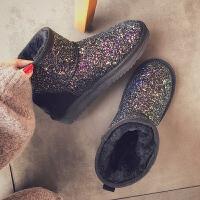 雪地靴女短筒亮片2018新款冬季韩版保暖百搭加绒一脚蹬学生棉鞋潮SN9916