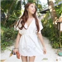 韩版镂空钩花性感V领短袖收腰海边度假沙滩裙比基尼罩衫 白色 均码
