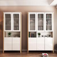 北欧两门三门书柜书架现代简约书房储物柜书橱带玻璃门立柜 1.4米以上宽