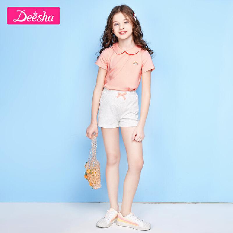 【限时抢购价:39】笛莎女童T恤2020夏季新款中大童儿童时尚洋气上衣小女孩短袖T恤女