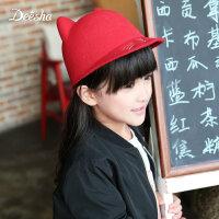 【3折价:35】笛莎女童帽子冬韩国版大耳朵儿童毛呢帽新款可爱英伦礼帽鸭舌帽