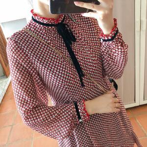 谜秀连衣裙女长袖2018春装新款韩版宽松学生娃娃装雪纺短款裙子潮