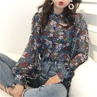 2018新款女装春装韩版学生复古碎花灯笼袖雪纺衬衫女长袖打底开衫