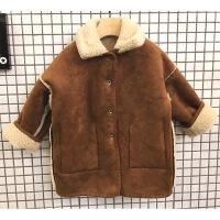 2018儿童皮毛一体冬季机车鹿皮绒羊羔绒长款外套男童女童加绒韩版