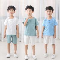 儿童唐装男童套装18中国风男童小孩改良民族风夏季棉麻汉服两件套