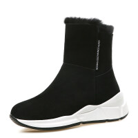 内增高雪地靴女短筒2018新款冬季韩版兔毛百搭厚底棉鞋保暖短靴子