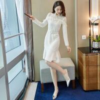 针织连衣裙2018新款复古蕾丝气质毛衣配大衣的长裙子过膝女秋冬季 米白色
