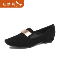 【领�幌碌チ⒓�120】金粉世家 红蜻蜓旗下 春季新款反绒休闲女鞋简约经典浅口