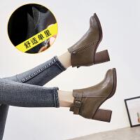 短靴女粗跟棉靴英伦风百搭高跟女鞋春秋冬季2018新款马丁靴女靴子