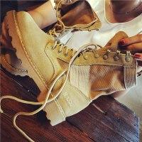 欧洲站秋季新款磨砂真皮马丁靴女英伦风中筒系带机车靴沙漠短靴子
