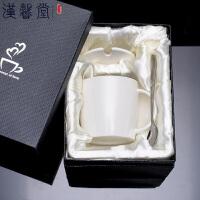 汉馨堂 酒桶马克杯 带盖带勺创意陶瓷家用简约单色礼盒套装大肚容量女生早餐牛奶杯办公咖啡杯