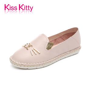 20170904173240131KissKitty奇思凯蒂2017秋新款时尚牛皮萌趣猫咪造型平跟休闲鞋