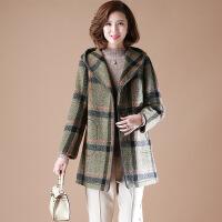 妈妈秋冬装新款羊毛呢子大衣中长款中老年女装冬季加厚毛呢外套�V