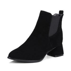 WARORWAR法国2019新品YG08-76-2冬季欧美磨砂皮酒杯跟中跟女鞋潮流时尚潮鞋百搭潮牌靴子切尔西靴短靴