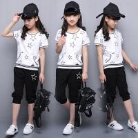 女童夏装新款套装韩版潮衣大童女孩短袖衣服运动服