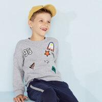 【2件2.5到手价:59】美特斯邦威旗下moomoo童装男童卫衣新款秋装时尚洋气中大儿童上衣-CC