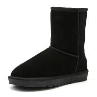 新款冬季雪地靴女中筒靴防滑真皮情侣保暖大码加绒加厚女棉鞋靴子