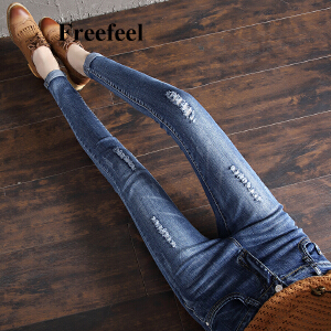 Freefeel2018春春季节牛仔长裤女新款高腰显瘦小脚裤破洞弹力修身铅笔裤