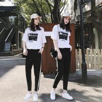 运动套装夏装时尚韩版夏天休闲卫衣两件套运动服女春秋新款潮 上衣+裤子