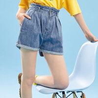 【1件2.5折到手价:28.8】美特斯邦威高腰牛仔短裤女宽松显瘦纸袋裤阔腿裤短裤2019夏装新款