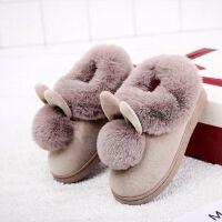 儿童棉拖鞋男女童加绒加厚底冬季中大童宝宝可爱卡通防滑包跟棉鞋