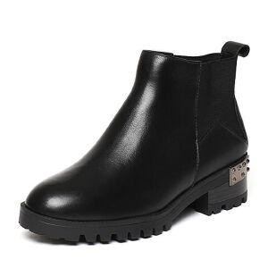 Belle/百丽冬季专柜同款黑油皮牛皮女短靴(绒里)BLQ44DD6