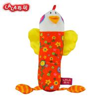 LALABABY/拉拉布书 宝宝布玩 益智玩具 内置BB器 花母鸡摇棒