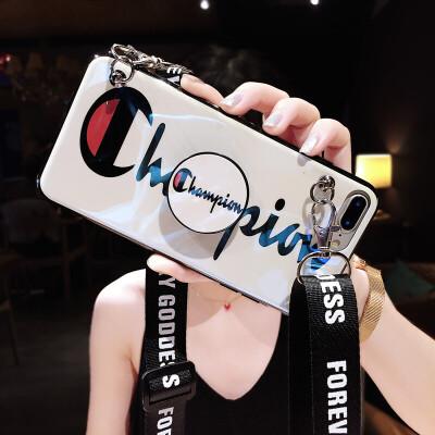 20190617194221099苹果6splus手机壳个性创意iphone8潮牌韩版可以背的6全包防摔7p女款x蓝光情侣硅胶软壳xs i6/6s 4.7寸 白底+气囊