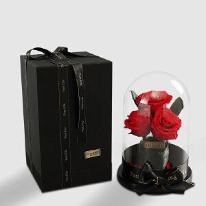 【礼品卡+全店满减】幸阁 永生花 玻璃罩玫瑰厄瓜多尔保鲜花成品礼盒PE004 顺丰包邮 情人节圣诞节生日礼物送女友创意礼品