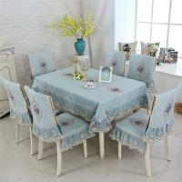 20180706015141908餐桌布椅套椅垫套装布艺餐椅套餐桌椅子套罩简约现代家用桌套套装