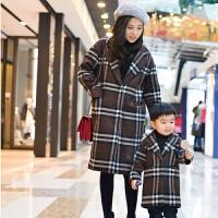 冬装母子母女装一家三口格子羊毛大衣 咖啡色