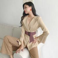 春季女装新款时尚百搭气质条纹显瘦西装外套腰带收腰衬衣开衫上衣