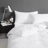 纯白秋冬加厚磨毛四件套60支 全棉保暖纯色被套床单床笠床上用品