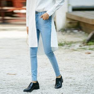 [AMII东方极简] JII东方极简 2018春装女新款水洗蓝色牛仔长裤原宿独立设计