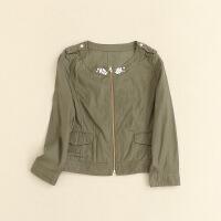 春装女装外套 圆领肩章9分袖休闲日系天丝棉夹克26