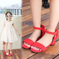 女童罗马凉鞋儿童夏季公主鞋2018新款韩版小女孩露趾防滑高跟凉鞋