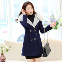 中年女装新款韩版毛呢女修身显瘦毛领呢子中长款甜美百搭女士外套