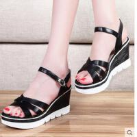 邻家天使夏季新款韩版厚底防水台高跟鞋时尚坡跟鱼嘴鞋OL女鞋子凉鞋女 NEB-L6223