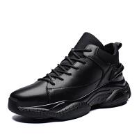 运动鞋男士休闲鞋真皮加绒保暖棉鞋潮旅游鞋男秋冬季新款 黑色