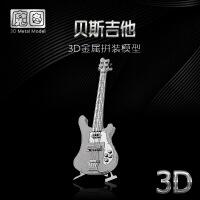3D立体模型拼图金属拼装乐器摆件 贝斯吉他 DIY手工拼图 吉他+送防尘盒+灯光