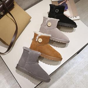 ZHR2018冬季新款加厚平底短靴子女棉鞋加绒百搭学生短筒雪地靴潮