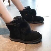 雪地靴女皮毛一体2018新款韩版百搭学生棉鞋女冬加绒保暖厚底短靴 黑色 (加棉)雪地靴