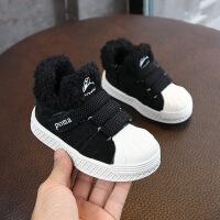 秋冬新款儿童运动鞋加绒保暖休闲鞋1-2-3岁男童板鞋真皮防滑棉鞋