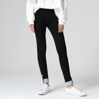 初语春季新款黑色棉质拼接小脚修身休闲裤女打底裤外穿加绒