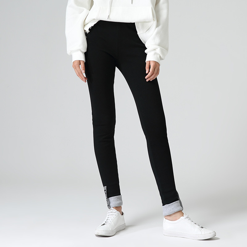 初语冬季新款黑色棉质拼接小脚修身休闲裤女打底裤外穿加绒