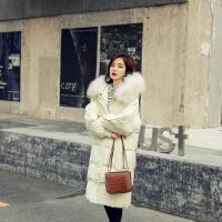 韩国加厚羽绒服女中长款2018新款韩版时尚过膝大毛领白鸭绒外套潮
