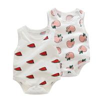 婴儿连体衣服男女宝宝新生儿0春款夏季薄款无袖三角3月夏款爬爬服