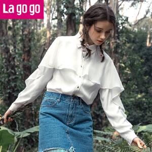 Lagogo/拉谷谷2018年春季新款时尚衬衫领纽扣长袖衬衫