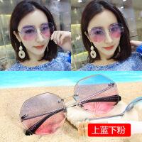 2018新款沙滩墨镜女潮圆脸明星同款网红太阳镜GM圆形眼镜大框长脸