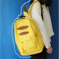 日系动漫周边童趣可爱大儿童软妹女学生书包韩版双肩包背包 黄色 皮卡丘